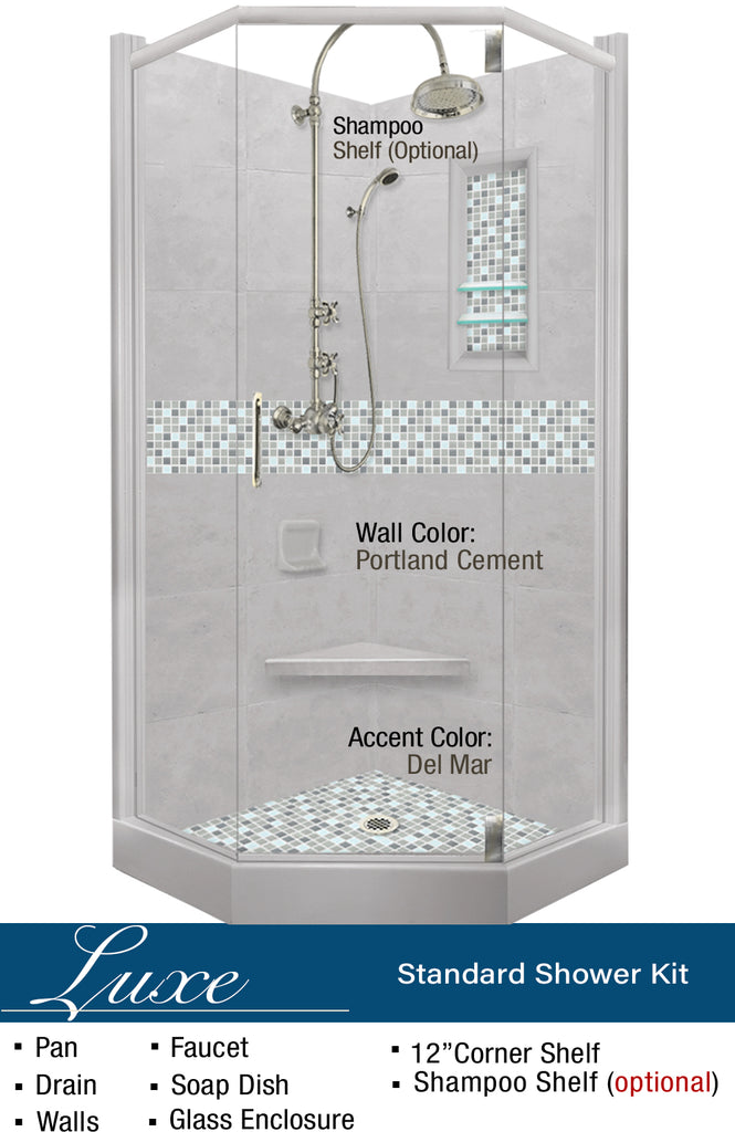 Del Mar Mosaic Neo-Angle Shower Kit  Shower Kit - American Bath Factory