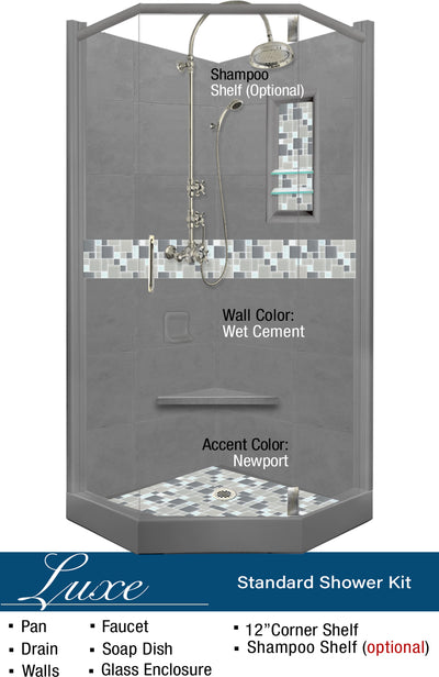 Newport Mosaic Neo-Angle Shower Kit  Shower Kit - American Bath Factory