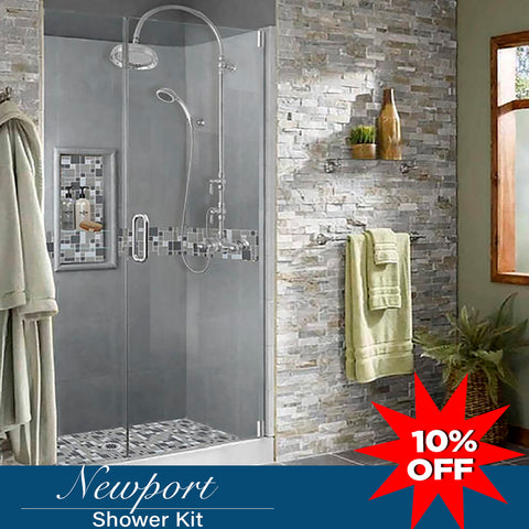 "Stone & Tile Shower Kit Newport 60"" Alcove With Glass Door G"