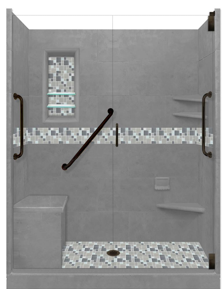 "Stone & Tile Shower Kit Newport 60"" x 30"" Freedom Grand Alcove  Google Ad Shower - American Bath Factory"