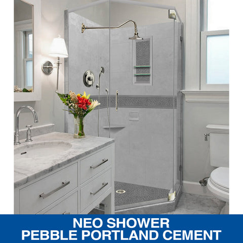 """SPECIAL OFFER"" Pebble Portland Cement Neo Shower Kit with Glass & FREE FAUCET"