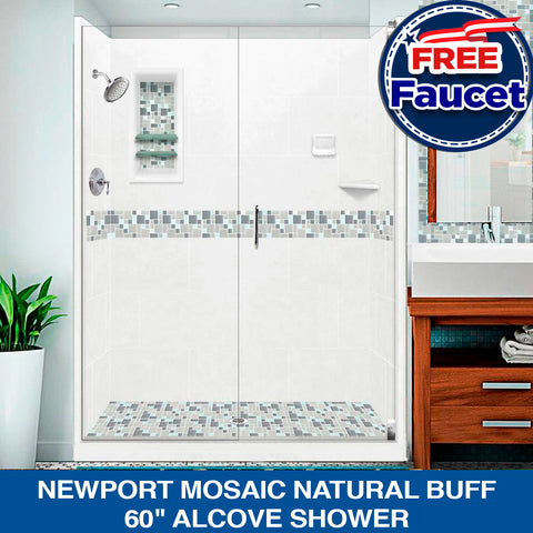 "Special SALE! Newport Mosaic Natural Buff 60"" Alcove Shower Kit +FREE Faucet CH & Bathroom Accessories"