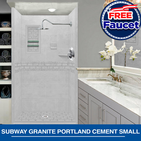 Specials Discounts! Subway Granite Portland Cement Small Alcove Shower Kit with FREE FAUCET