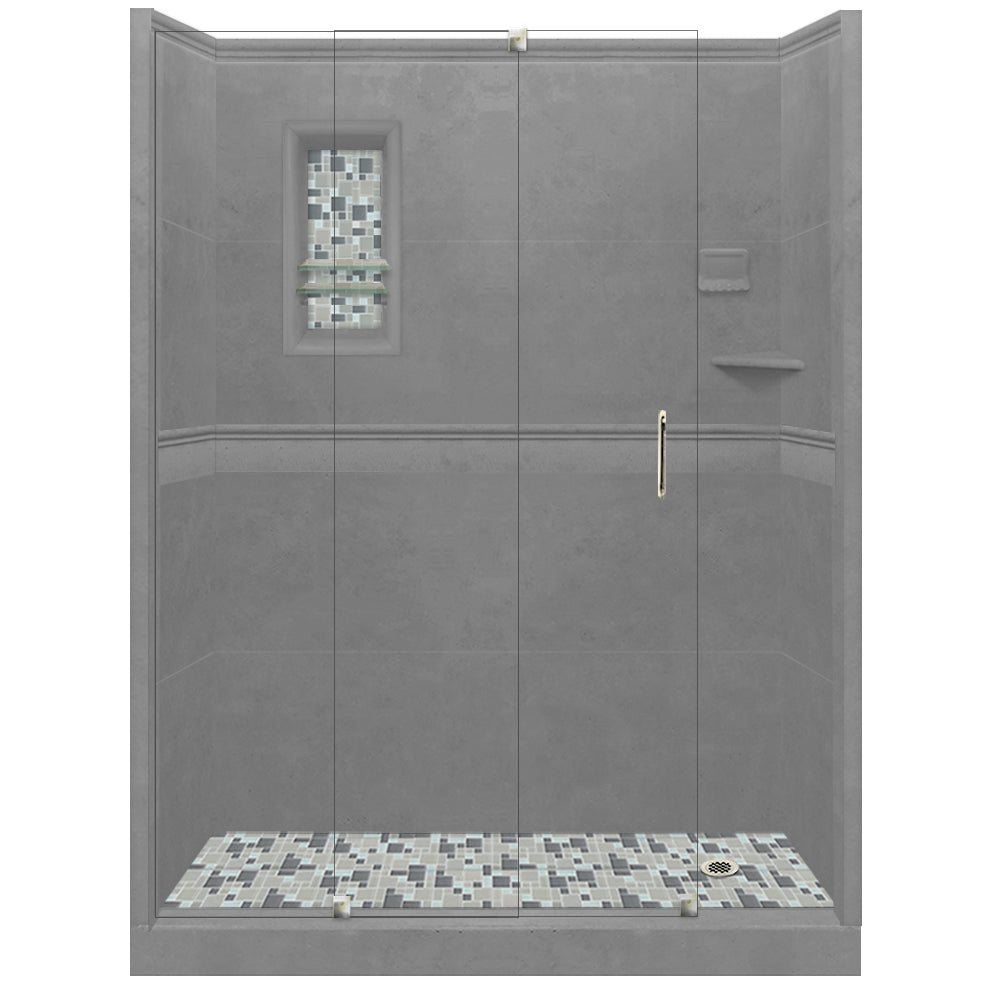 Wet Cement Alcove Grand Shower Kit with Solid Fiberglass Pan  testing shower - American Bath Factory