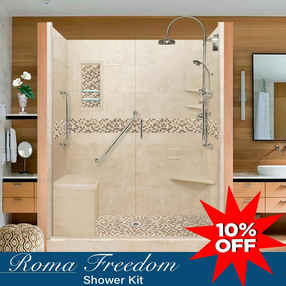 "Stone & Tile Freedom Shower Kit Roma 60"" Alcove With Glass Door G  Google Shower - American Bath Factory"