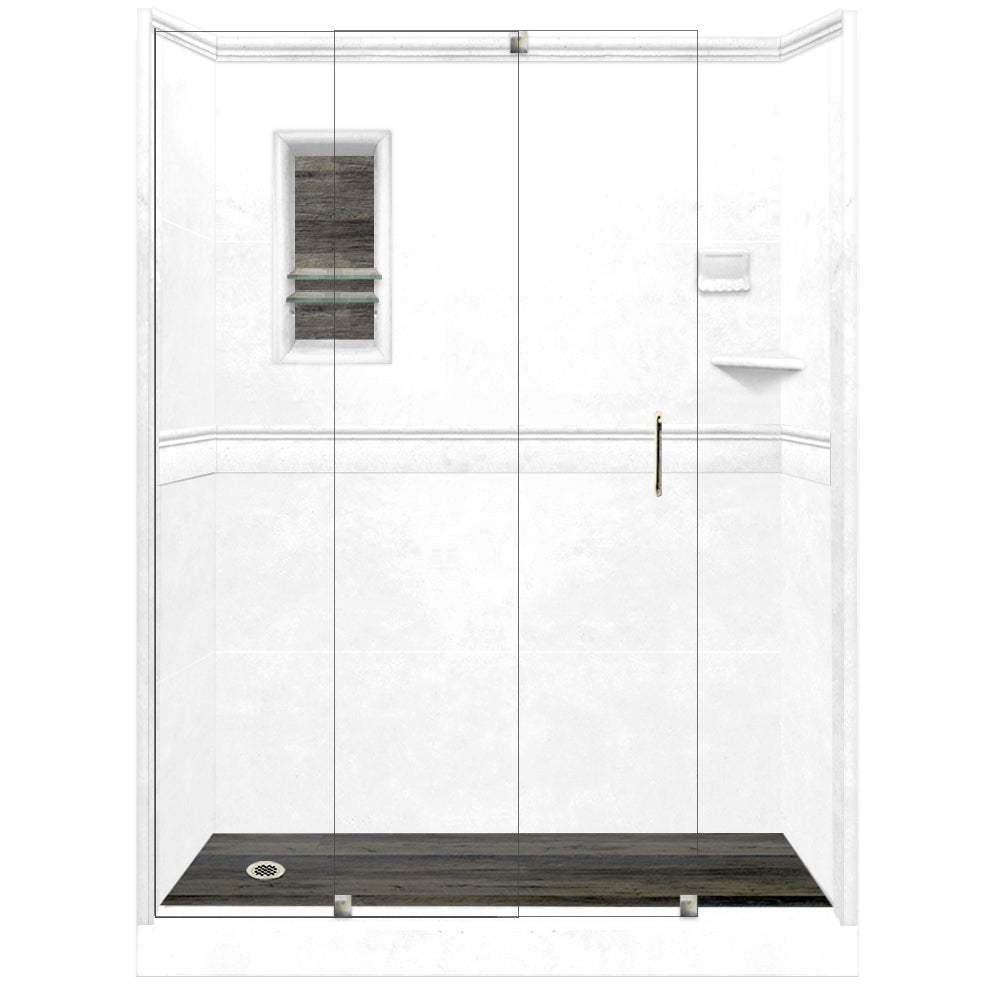 Natural Buff Alcove Grand Shower Kit with Fiberglass Pan  testing shower - American Bath Factory