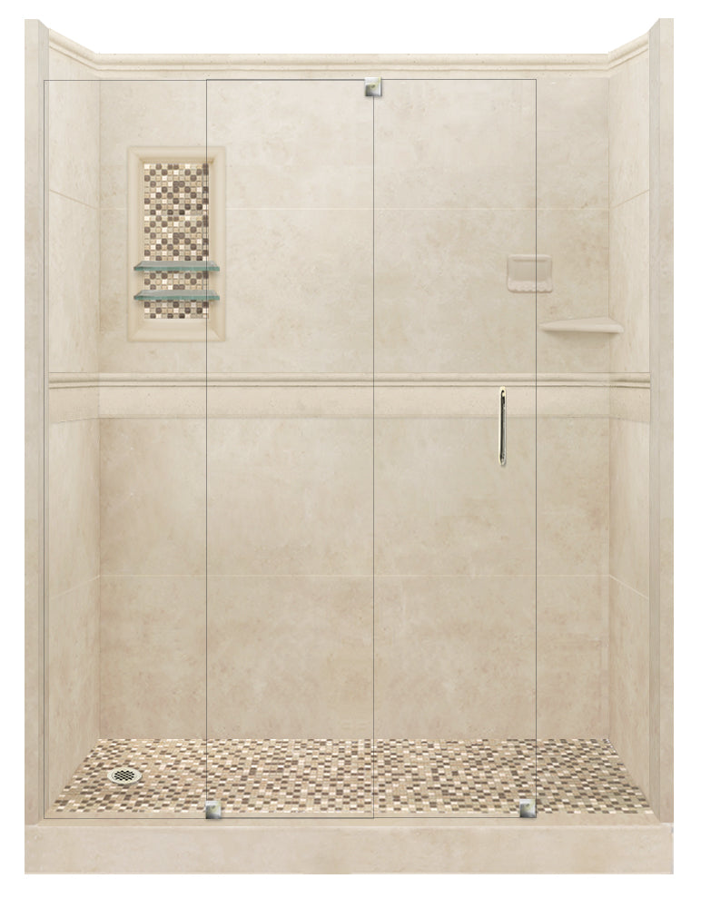 Desert Sand Alcove Grand Shower Kit with Solid Fiberglass Pan  testing shower - American Bath Factory