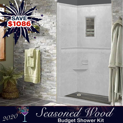 Portland Cement Alcove Budget Shower Kit  Shower Kit - American Bath Factory