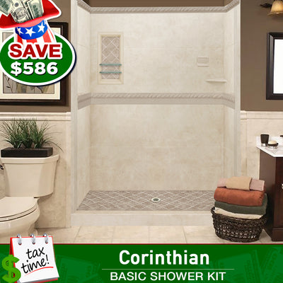 Desert Sand Alcove ADA Handicap Shower Kit: Wheelchair Accessible   - American Bath Factory