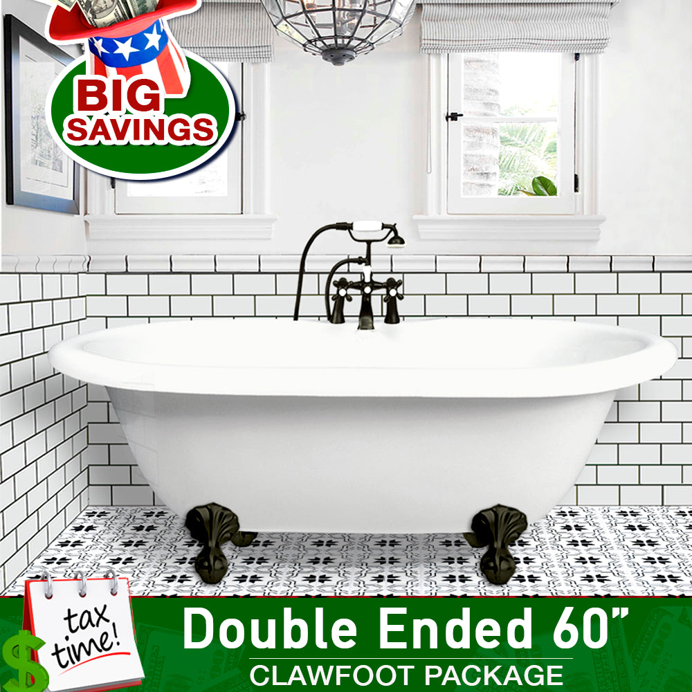 "Double Ended 60"" Clawfoot & Faucet Package with I-drain  Bathtub Integrated - American Bath Factory"