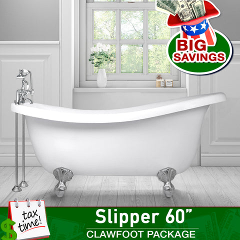 "Slipper 60"" Clawfoot & Faucet Package with I-drain  Bathtub Integrated - American Bath Factory"