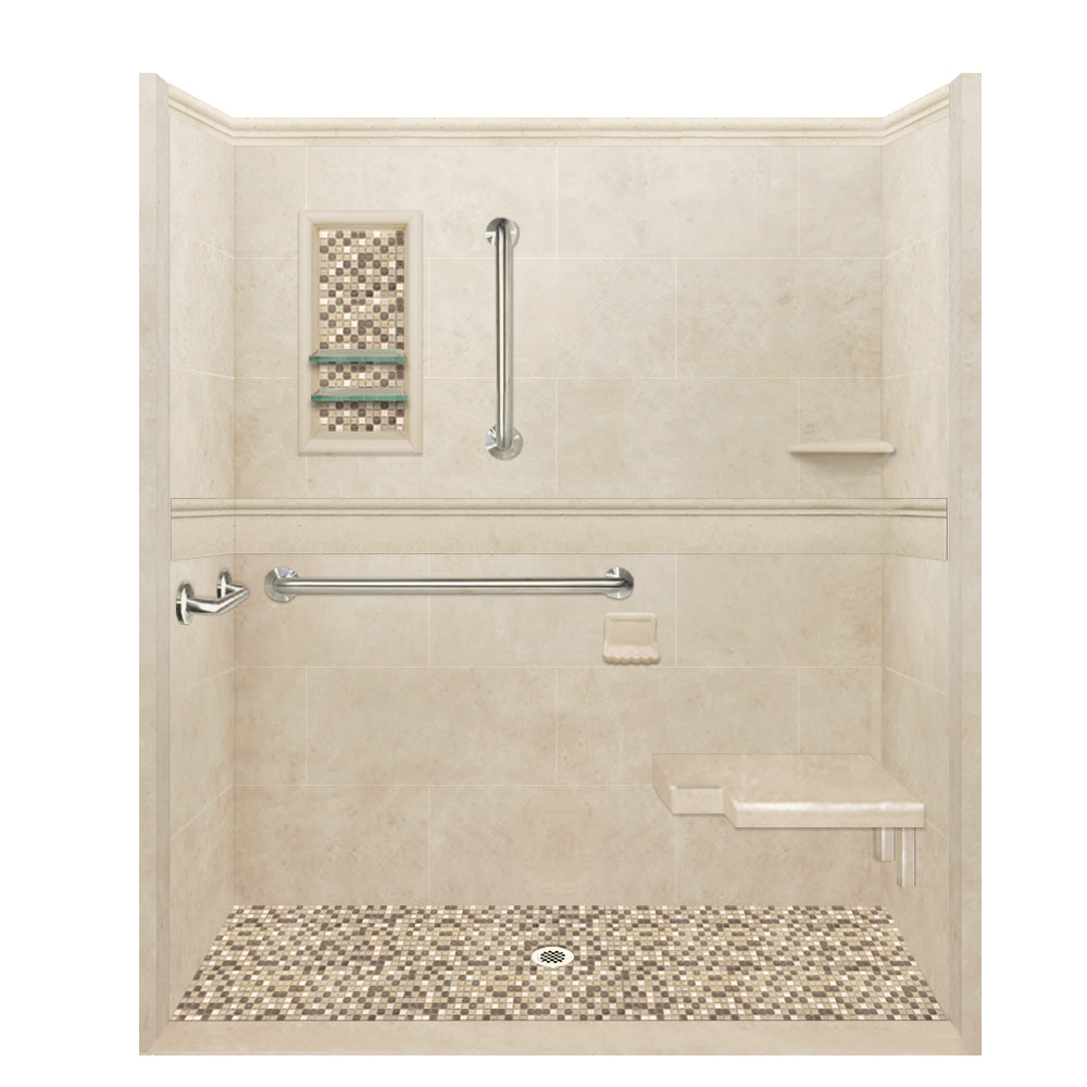 ADA Roll In, Barrier Free Desert Sand Alcove Shower Kit.  Shower Kit - American Bath Factory