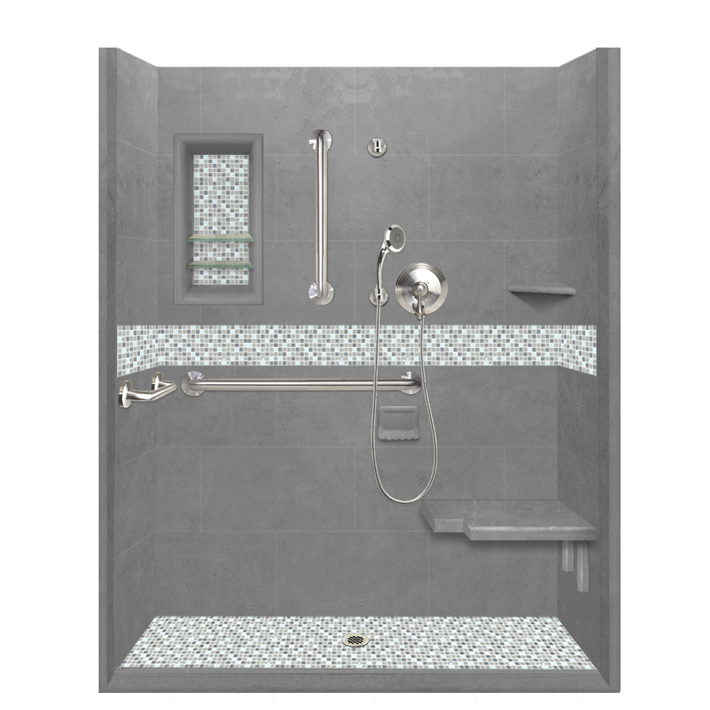 ADA Roll In Barrier Free Wet Cement Alcove Shower Kit  Shower Kit - American Bath Factory