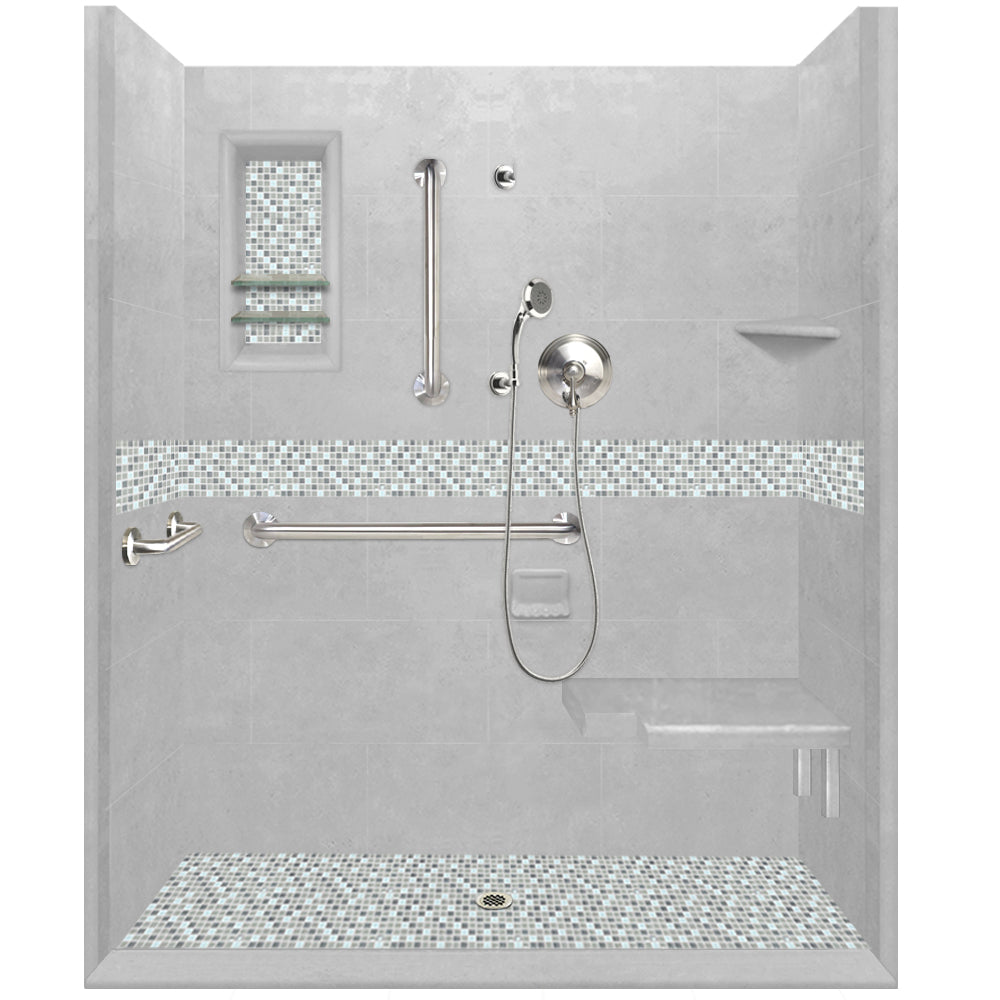 ADA Roll In Barrier Free Portland Cement Alcove Shower Kit  Shower Kit - American Bath Factory