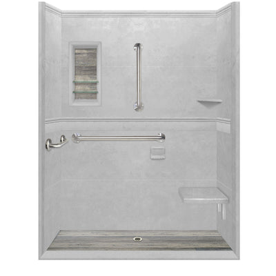 Portland Cement Alcove ADA 15 Handicap Shower Kit: Wheelchair Accessible   - American Bath Factory