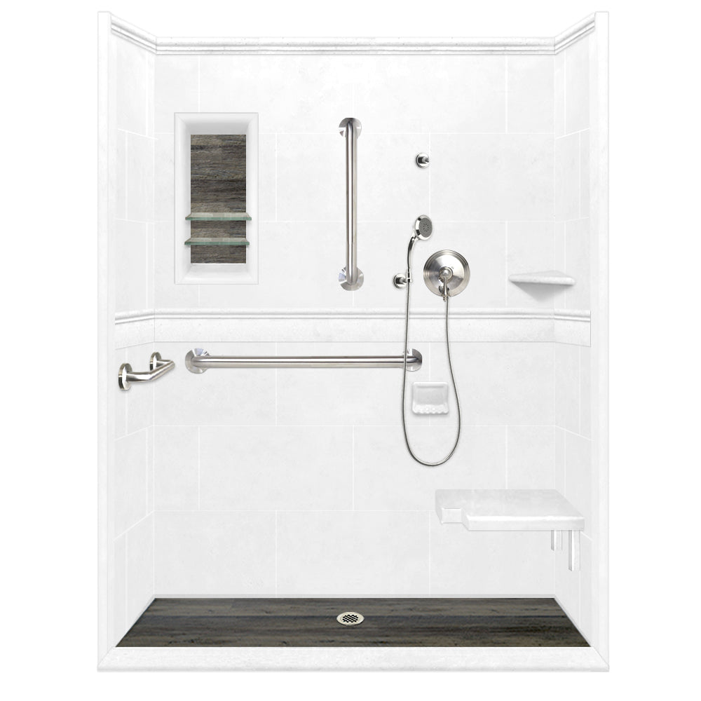 ADA Roll In Barrier Free Natural Buff Alcove Shower Kit  Shower Kit - American Bath Factory