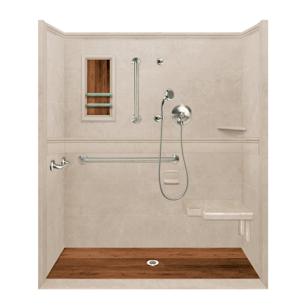 ADA Roll In Barrier Free Brown Sugar Alcove Shower Kit  Shower Kit - American Bath Factory