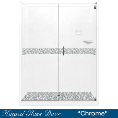 "10% OFF White Tones, Mosaic Natural Buff 60"" Alcove Glass Shower Kit with FREE Faucet F92H-SP"