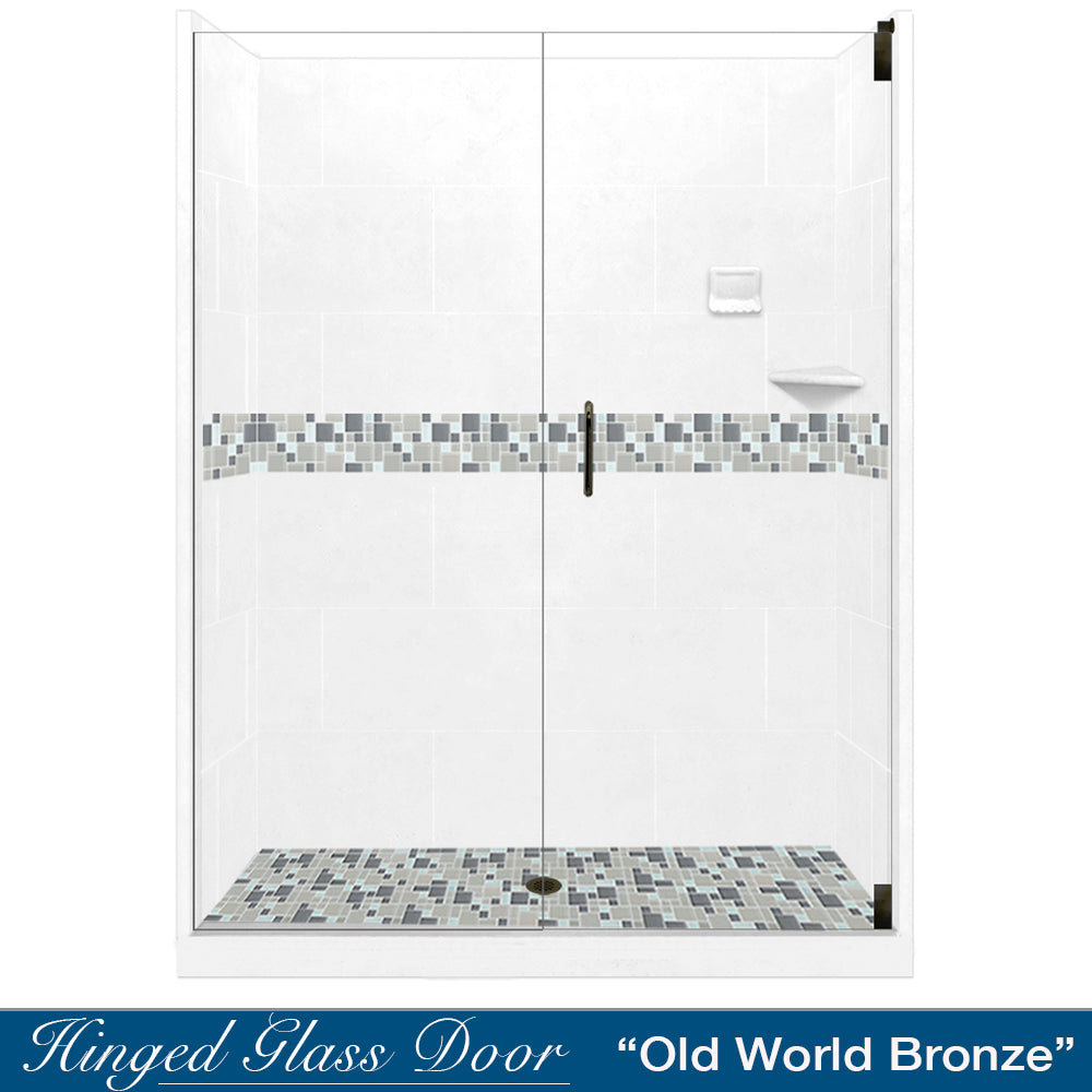 "Newport Mosaic Natural Buff 60"" Alcove Shower Kit  testing shower - American Bath Factory"