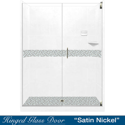 "Del Mar Mosaic Natural Buff 60"" Alcove Shower Kit  testing shower - American Bath Factory"