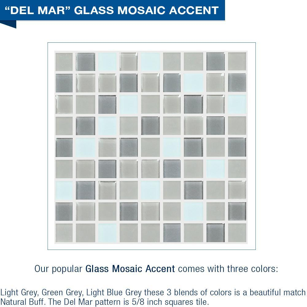 "NEW YEARS SPECIAL! Del Mar Mosaic Natural Buff 60"" Alcove Shower Kit with FREE Faucet + Accessories"