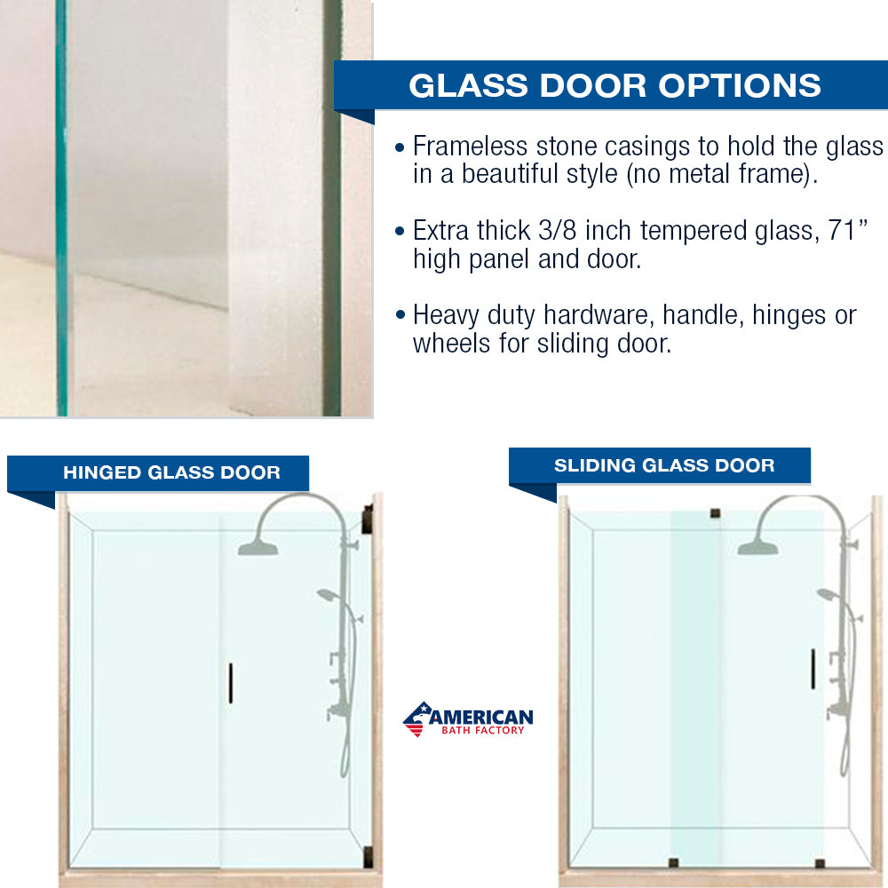 "Freedom Standard Diamond Natural Buff 60"" Alcove Shower Kit  testing shower - American Bath Factory"