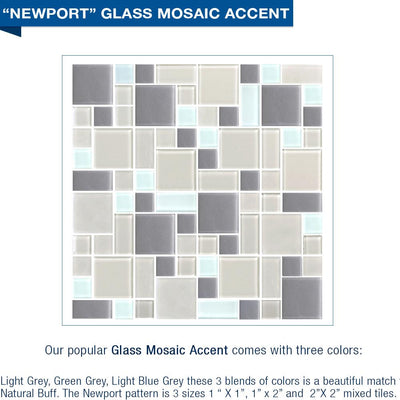Newport Mosaic Natural Buff Small Alcove Shower Kit