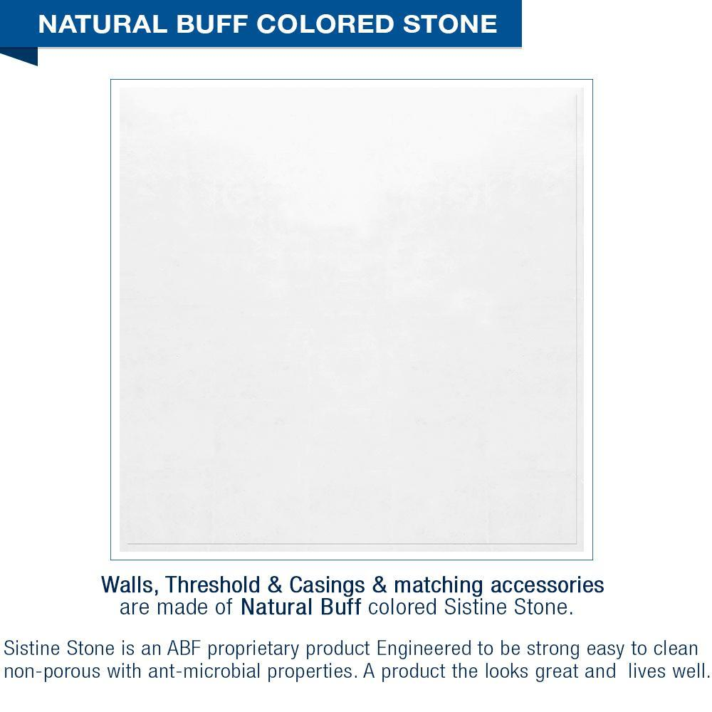 "10% OFF White Tones Mosaic Natural Buff 60"" Alcove Shower Kit with FREE Faucet"