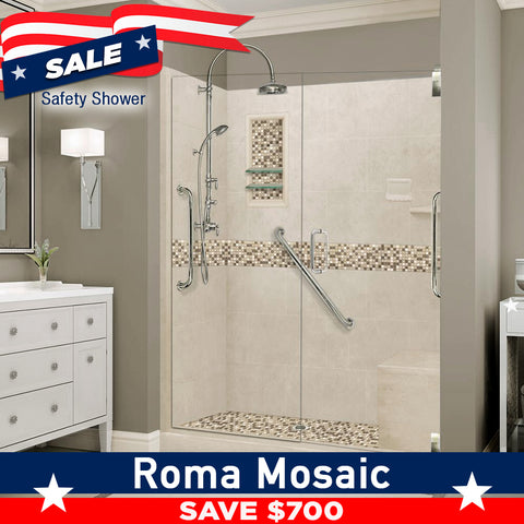 "SAVE $700 Freedom Standard Roma Mosaic Desert Sand 60"" Alcove Shower Kit"