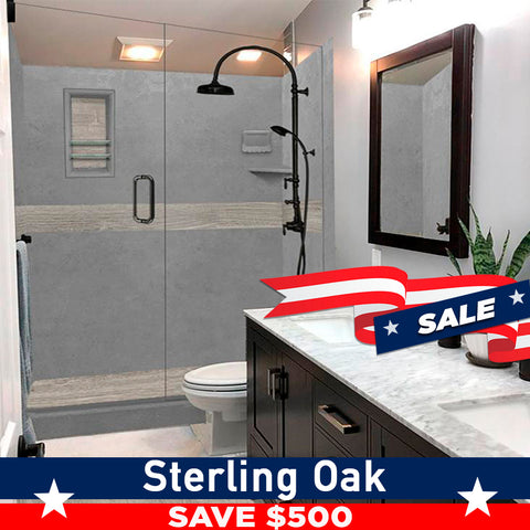 "Save $500 Sterling Oak Wet Cement  60"" Alcove Shower Kit"