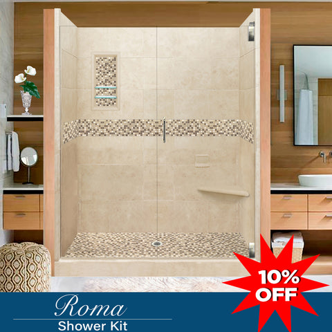 "Stone & Tile Shower Kit Roma 60"" Alcove With Glass Door G  Google Shower - American Bath Factory"