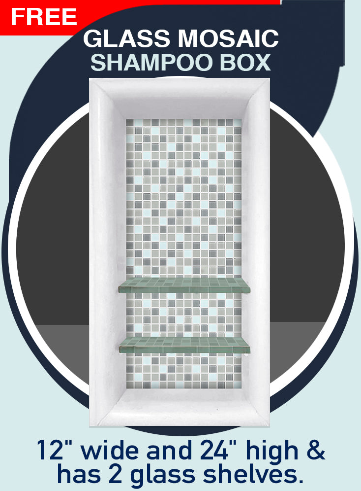 "2nd Best Seller Del Mar Mosaic Natural Buff 60"" Alcove Shower Kit"