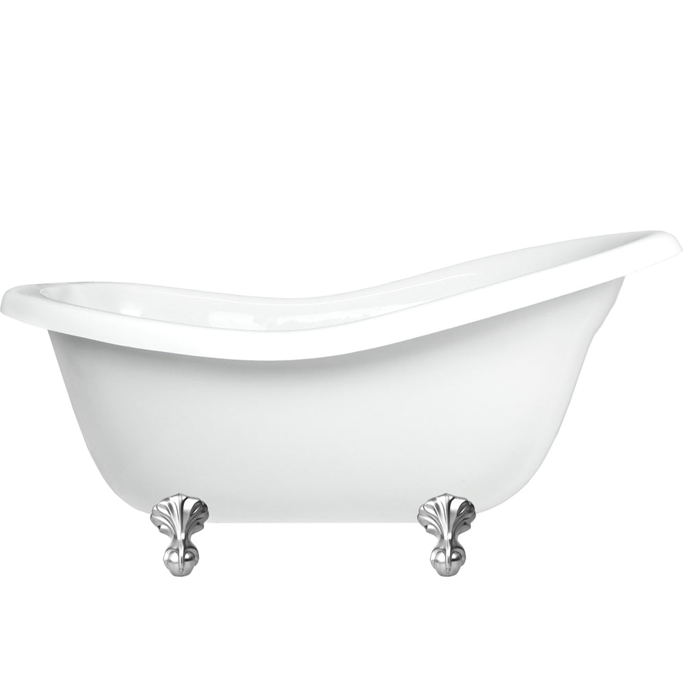 "Slipper Claw Feet 60"" Bathtub Chrome & Integrated Drain  Google Ad Clawfoot - American Bath Factory"