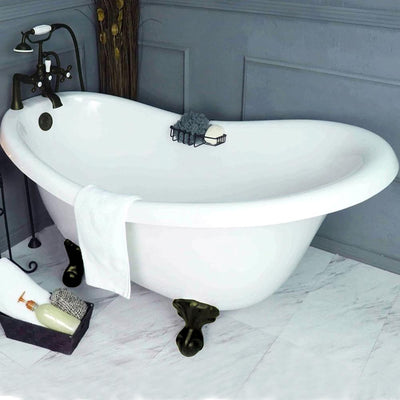 "Slipper Ball & Claw Feet 60"" Bathtub & Old World Bronze Telephone Deck Mount Faucet with Supplies Lines & Integrated Drain"