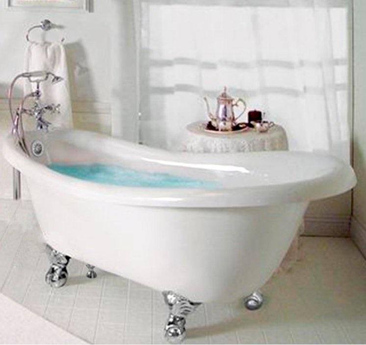 "Slipper Ball & Claw Feet 60"" Bathtub & Chrome Telephone Deck Mount Faucet with Supplies Lines & Integrated Drain"