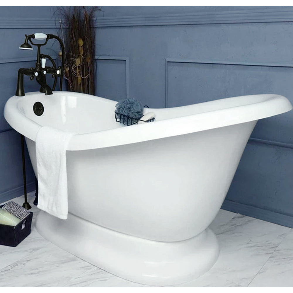 "Slipper Pedestal 60"" Bathtub & Old World Bronze Telephone Deck Mount Faucet with Supplies Lines & Integrated Drain"