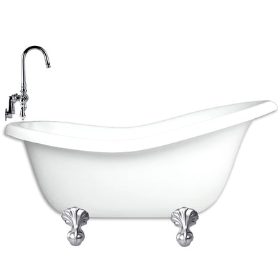 "Slipper 60"" Small Claw Feet & Integrated Drain - CLEARANCE  Clearance Bathtub - American Bath Factory"
