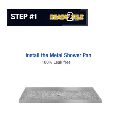 Ready-2-Tile Alcove Pan with Glass Enclosure  Shower Kit - American Bath Factory