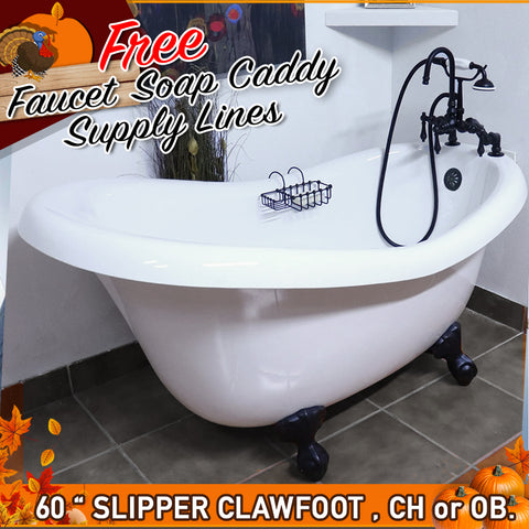 "60"" Slipper Clawfoot  Bathtub with FREE F200 Faucet, chrome or Old World Bronze Metal Finish."