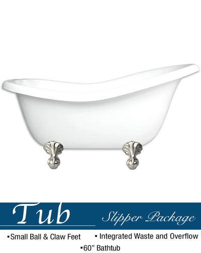Small Ball & Claw Slipper Bathtub  Bathtub Test - American Bath Factory