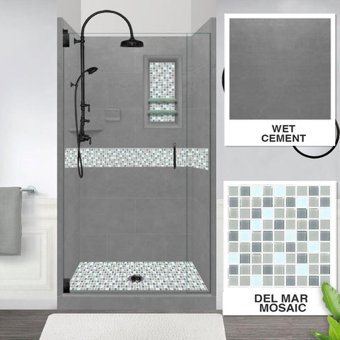 Del Mar Mosaic Wet Cement  Small Alcove Shower Kit