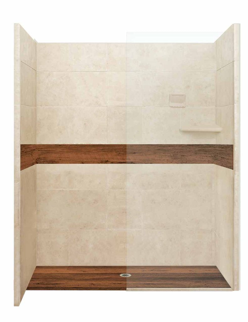 "Burnt Oak Zero Thershold 60"" Alcove LifeProof Flooring Wood Collection Shower Kits  Shower Kit - American Bath Factory"