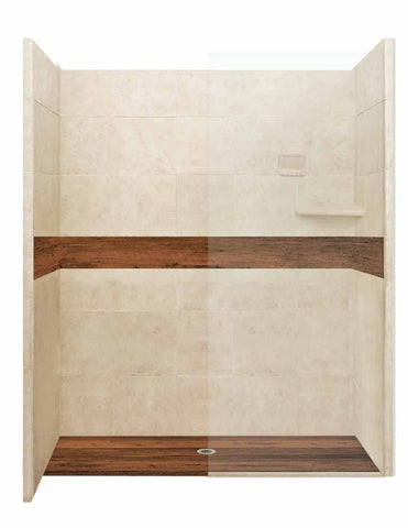 "Burnt Oak Seamless 60"" Alcove LifeProof Wood Collection Shower Kits  Shower Kit - American Bath Factory"