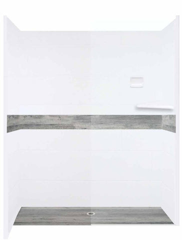 "Sterling Oak Zero Threshold 60"" Alcove LifeProof Flooring Wood Collection Shower Kits  Shower Kit - American Bath Factory"