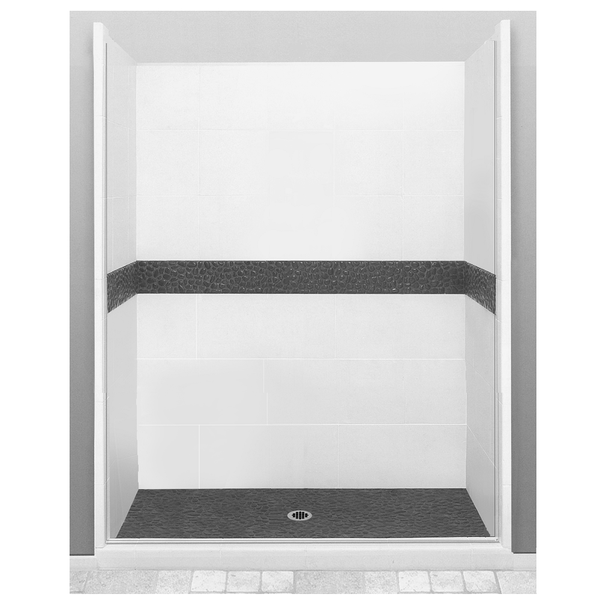 "Pebble 60"" Alcove Shower Kit Style & Color Options - American Bath Factory"