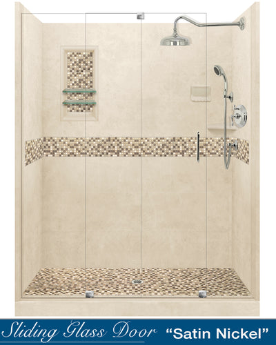 "10% OFF Fall Tones Mosaic Desert Sand 60"" Alcove Glass Shower Kit with FREE Faucet F92H-SP"