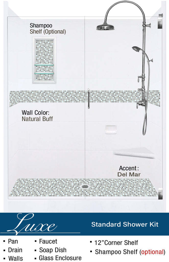 "Stone & Tile Shower Kit Del Mar 60"" Alcove With Glass Door G"