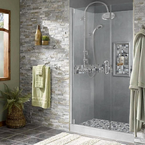 "Stone & Tile Shower Kit Newport 60"" x 30"" Grand Alcove With Glass Door  Google Ad - American Bath Factory"