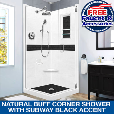 SPECIAL SALE! Natural Buff Corner Shower Kit with Subway Black Accent With FREE FAUCET & BATHROOM ACCESSORIES