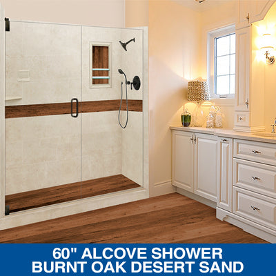 "Special SALE! Burnt Oak Desert Sand  60"" Alcove Shower Kit with FREE FAUCET"